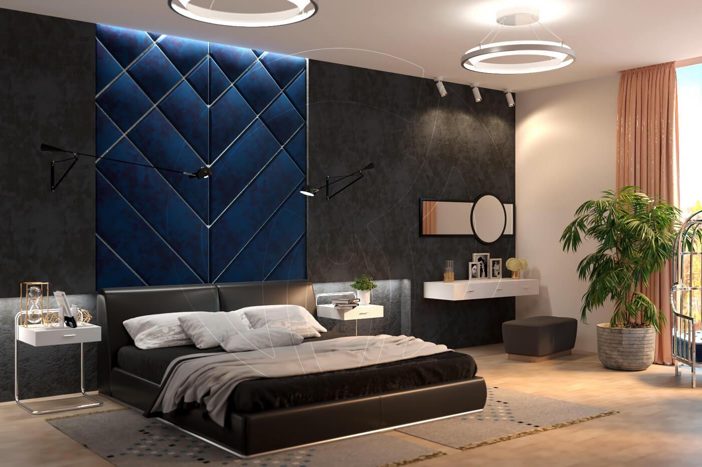 Загородный дом в современном стиле. Спальня. Кровать