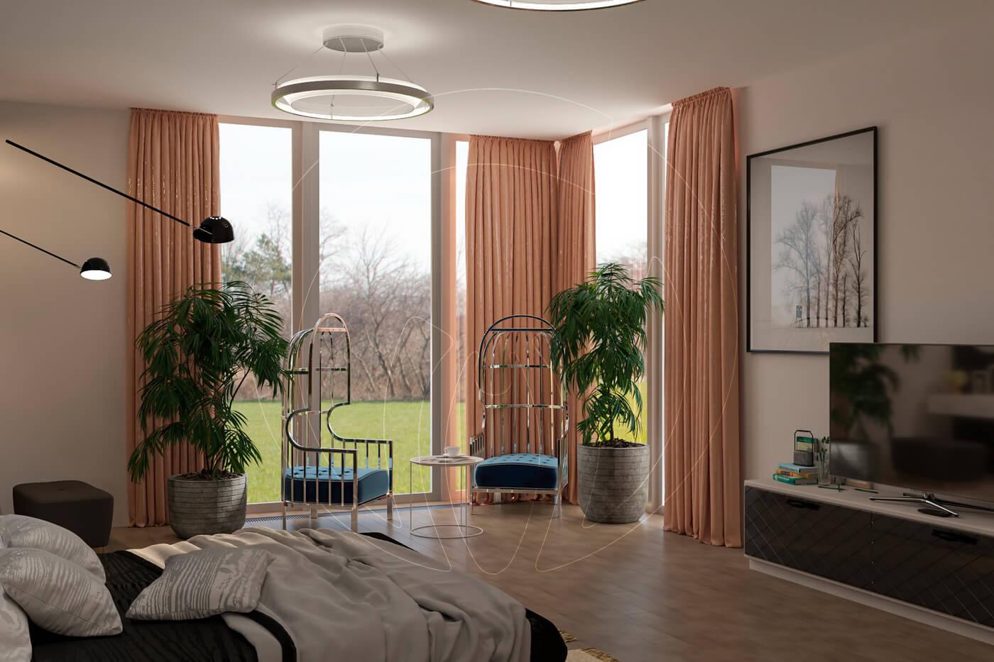 Загородный дом в современном стиле. Спальня. Зона отдыха