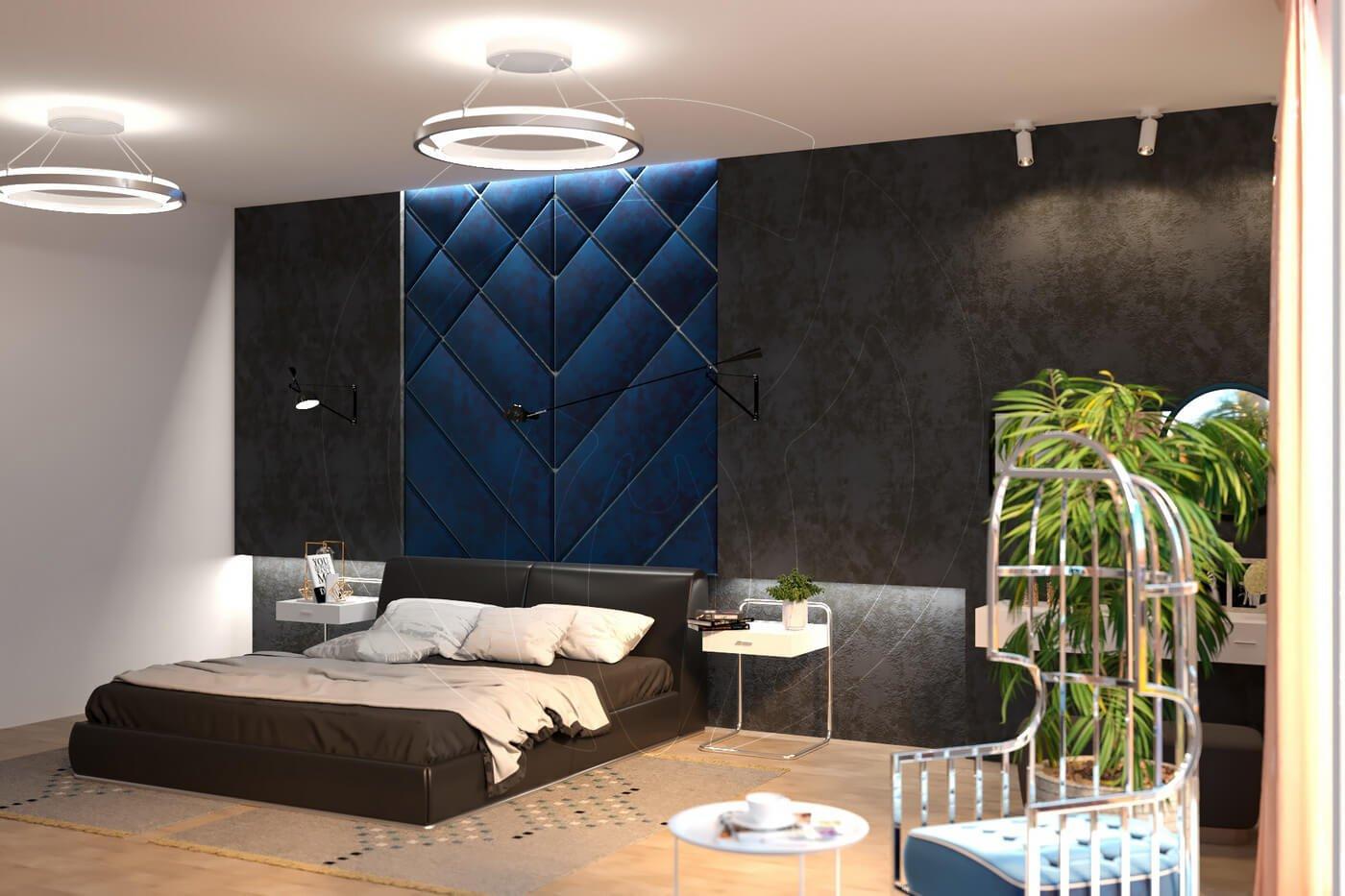 Загородный дом в современном стиле. Спальня. Мягкая стеновая панель