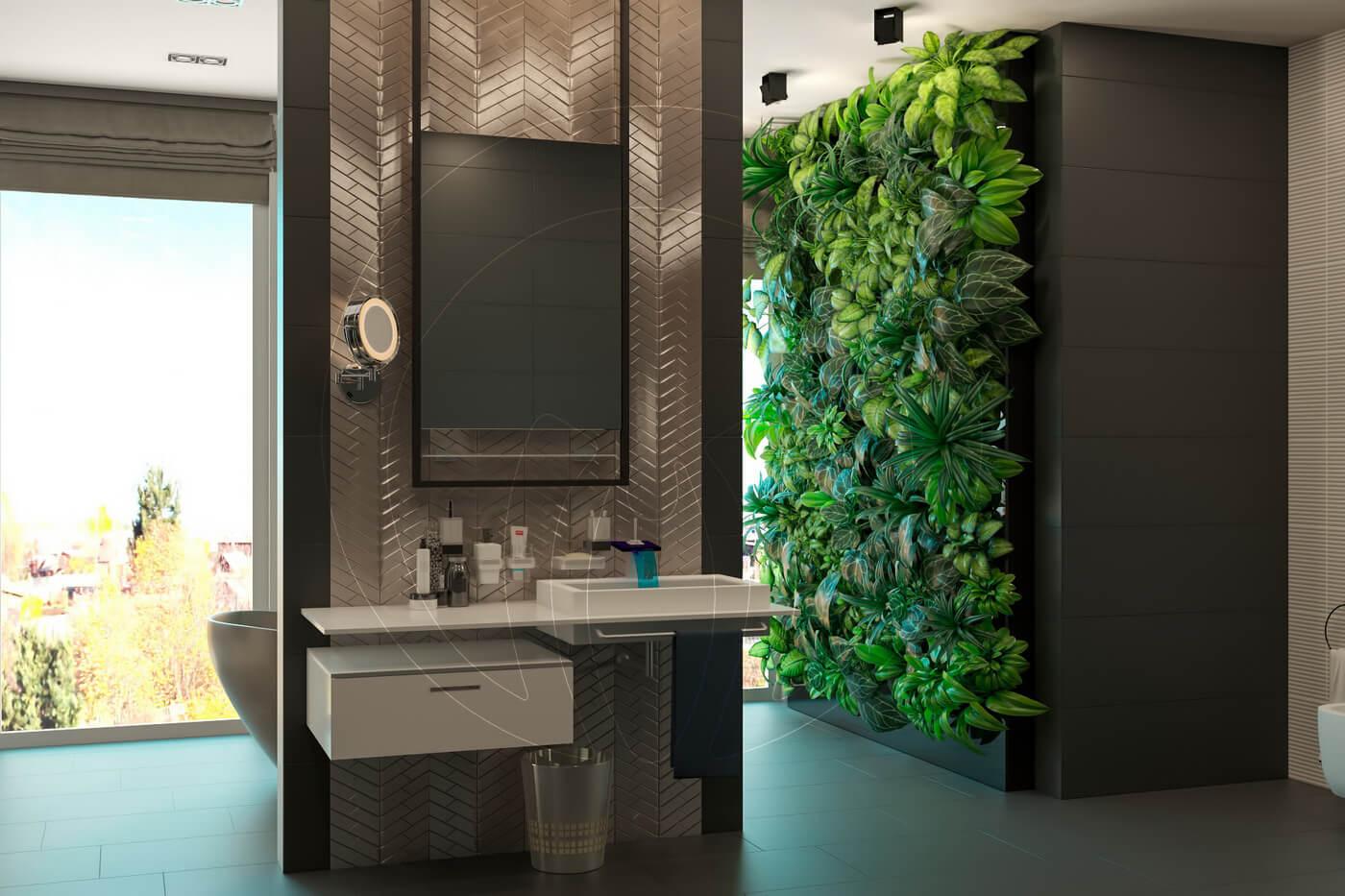 Загородный дом в современном стиле. Ванная комната. Умывальник и фитостена