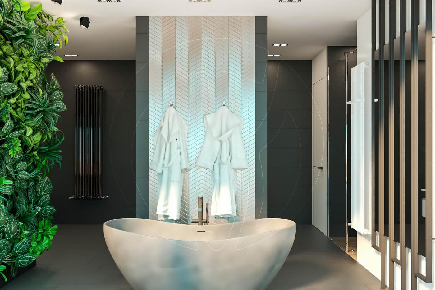 Загородный дом в современном стиле. Ванная комната. Ванна. Зонирование