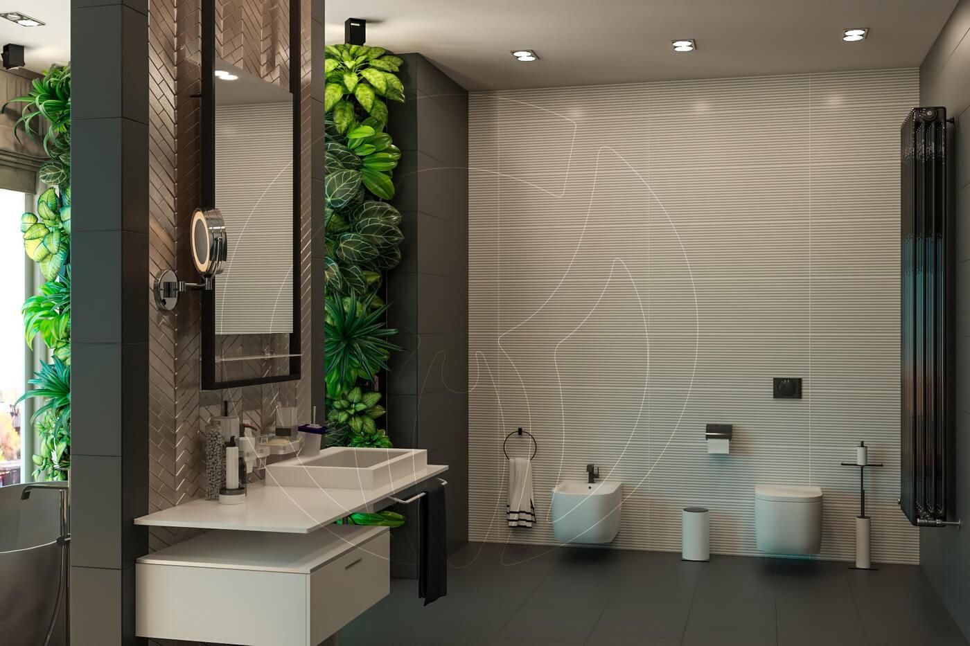 Загородный дом в современном стиле. Ванная комната. Унитаз и биде