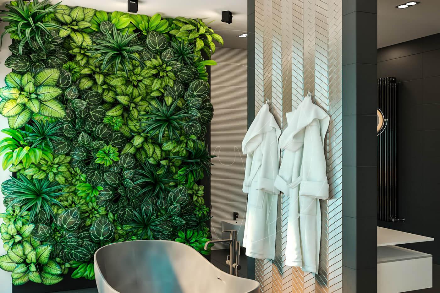Загородный дом в современном стиле. Ванная комната. Ванна и фитостена