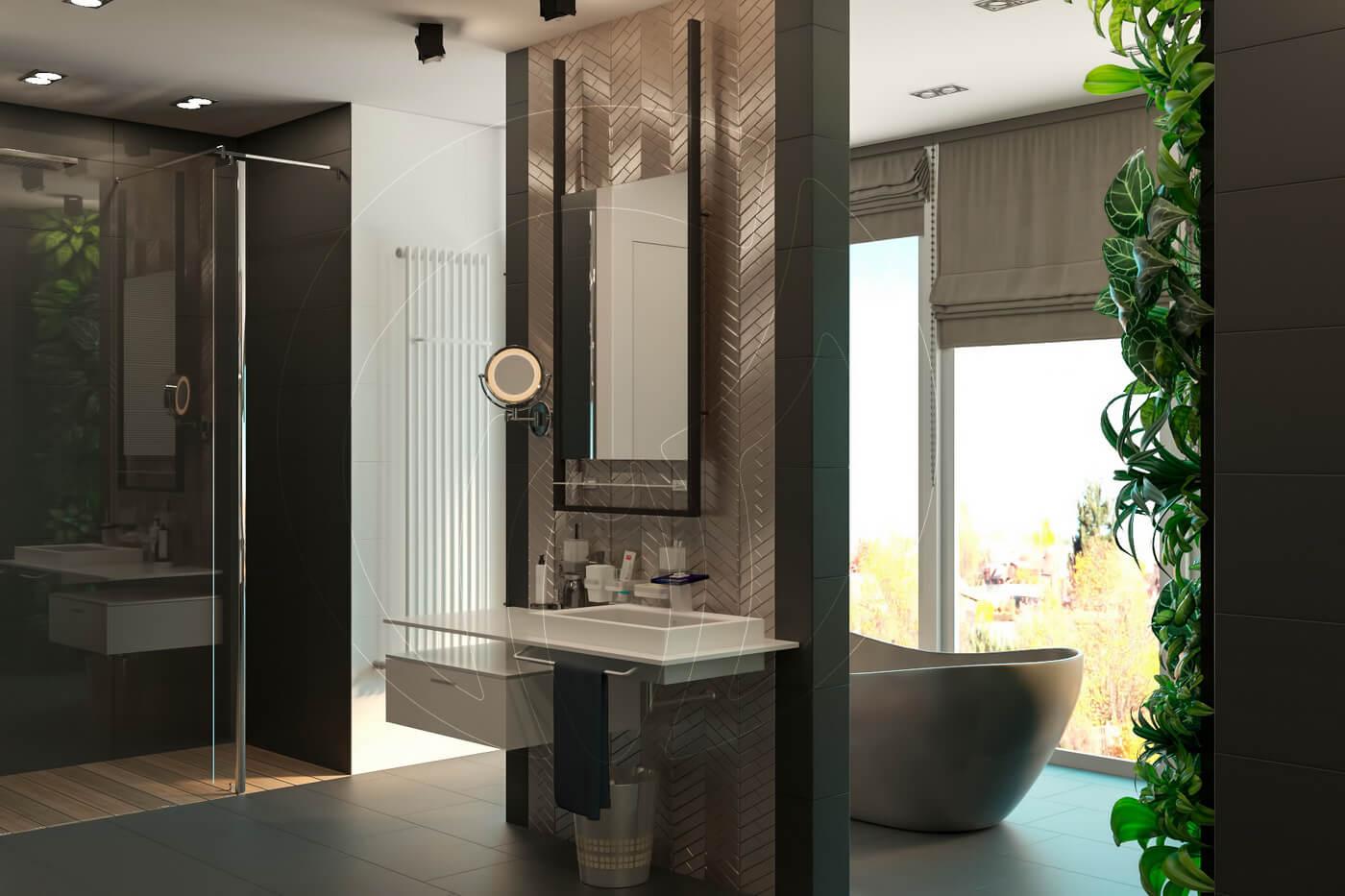 Загородный дом в современном стиле. Ванная комната. Умывальник