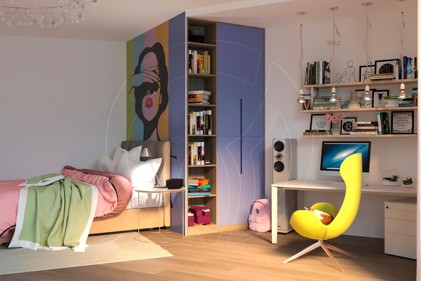Загородный дом в современном стиле. Детская комната. Учебное место