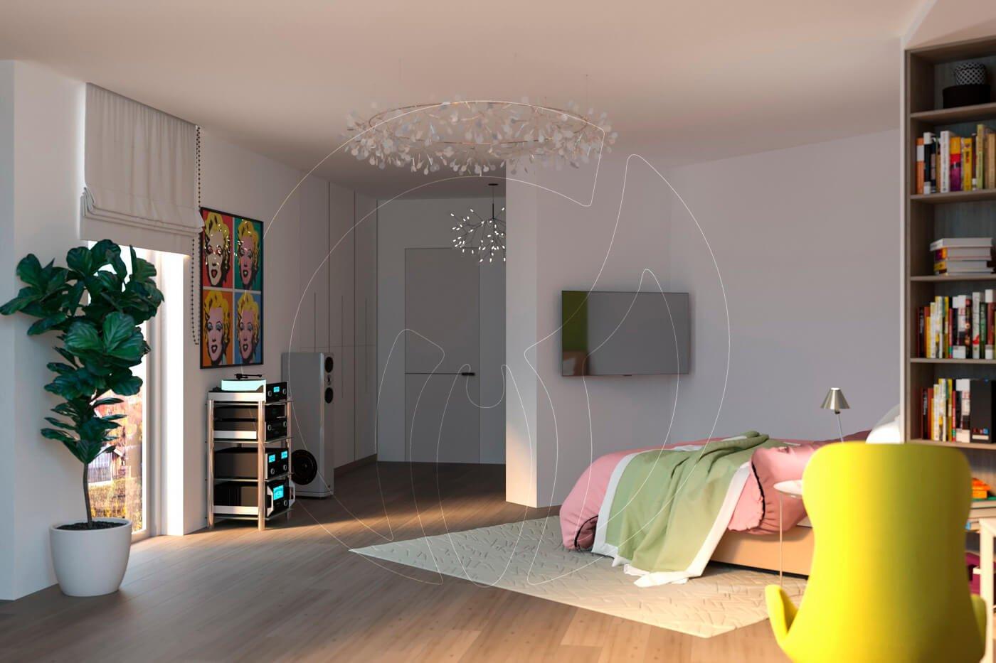Загородный дом в современном стиле. Детская комната. Кровать