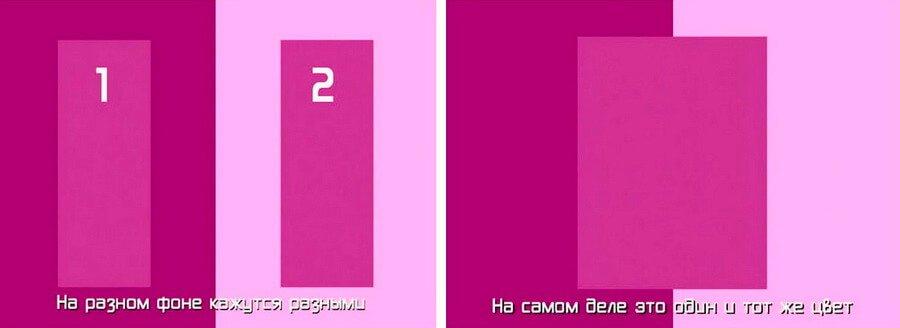 Образцы цвета (выкраски). Обман зрения