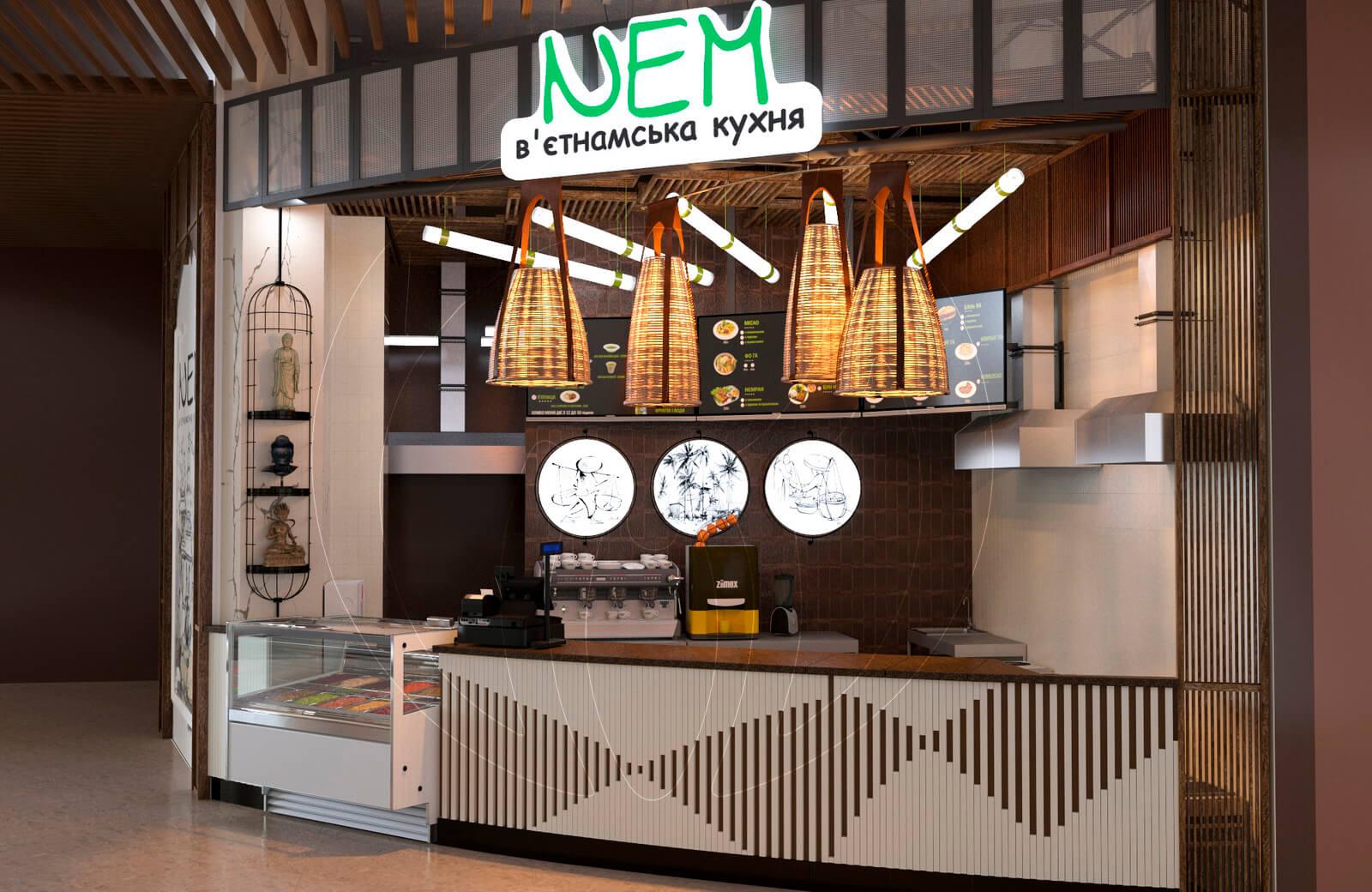 Ресторан fast food NEM. Зона выдачи готовых блюд
