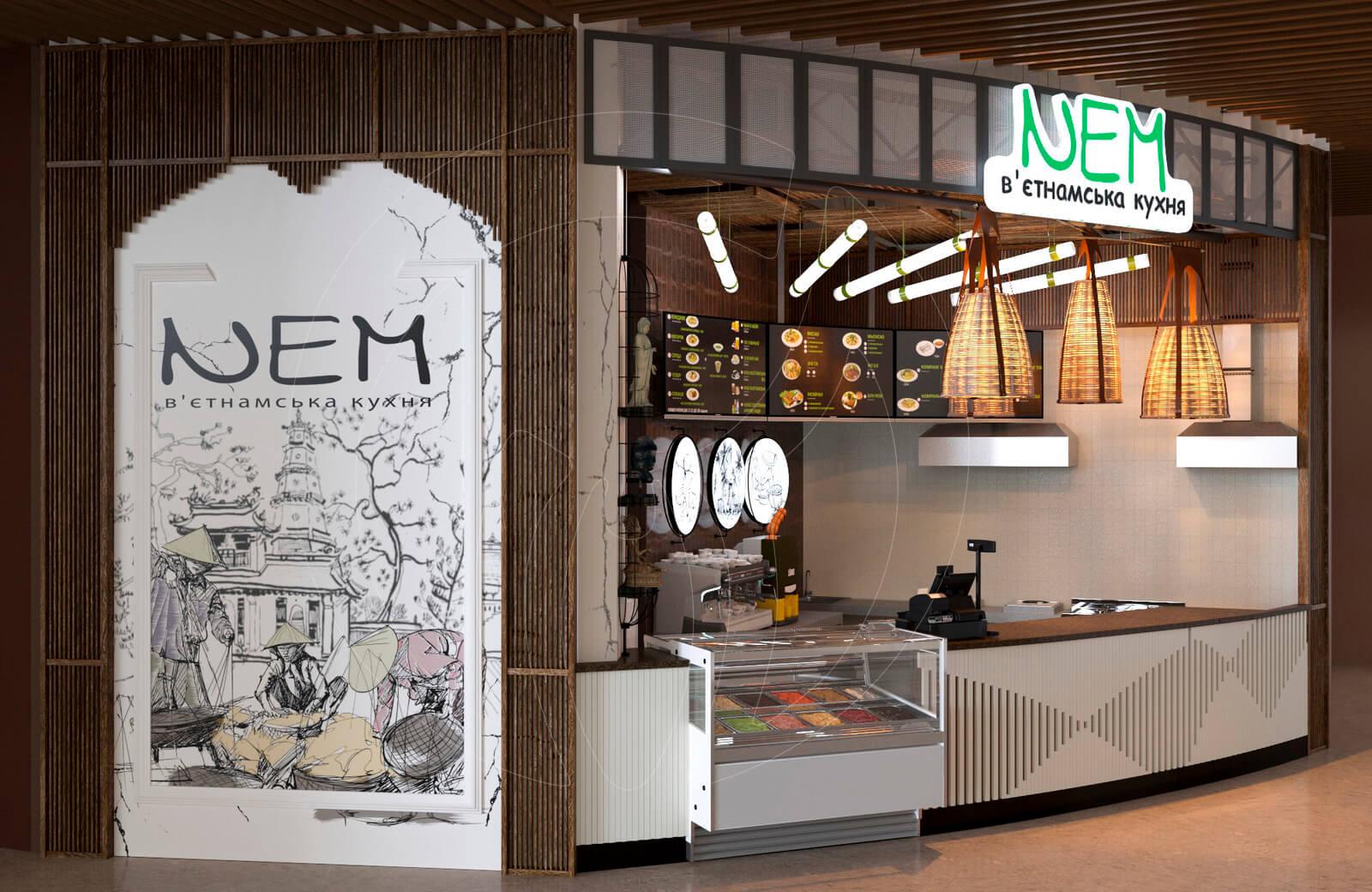 Ресторан fast food NEM. Мурал с деревянным порталом