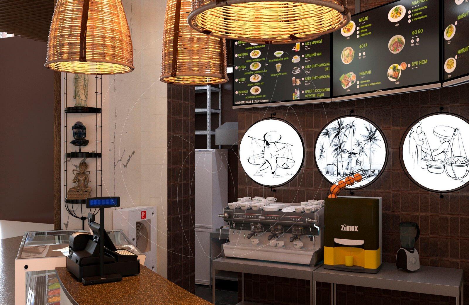 Ресторан fast food NEM. Декоративные светильники в зоне выдачи