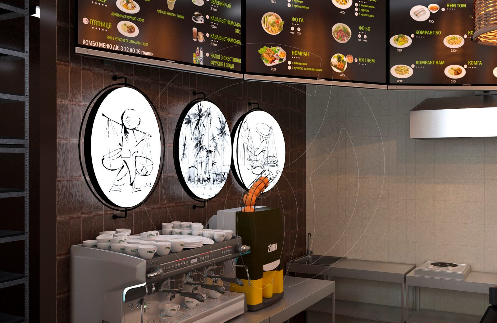 Ресторан fast food NEM. Декор в зоне выдачи