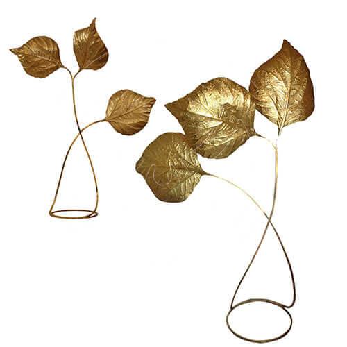 Brass Leaf Motif Lamp by Carlo Giorgi